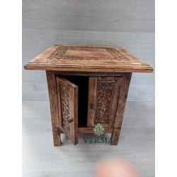 "TABLE SQ IN MANGO WOOD 18X18"""