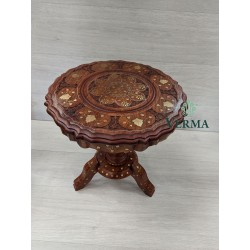 INLAID HEAVY PEDSTAL TABLE...