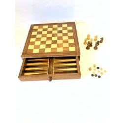 TWO IN ONE CHESS & BACKGAMMON WITH STORAGE DRAW