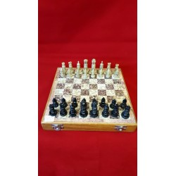"Soapstone Carved Chess Set 10"" x 10"""