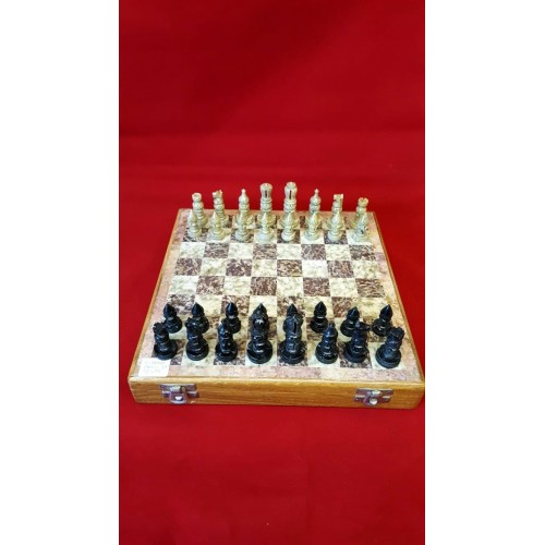 """Soapstone Carved Chess Set 10"""" x 10"""""""