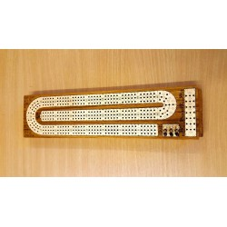FLAT  CRIBBAGE THREE TRACK BROWN BORDER